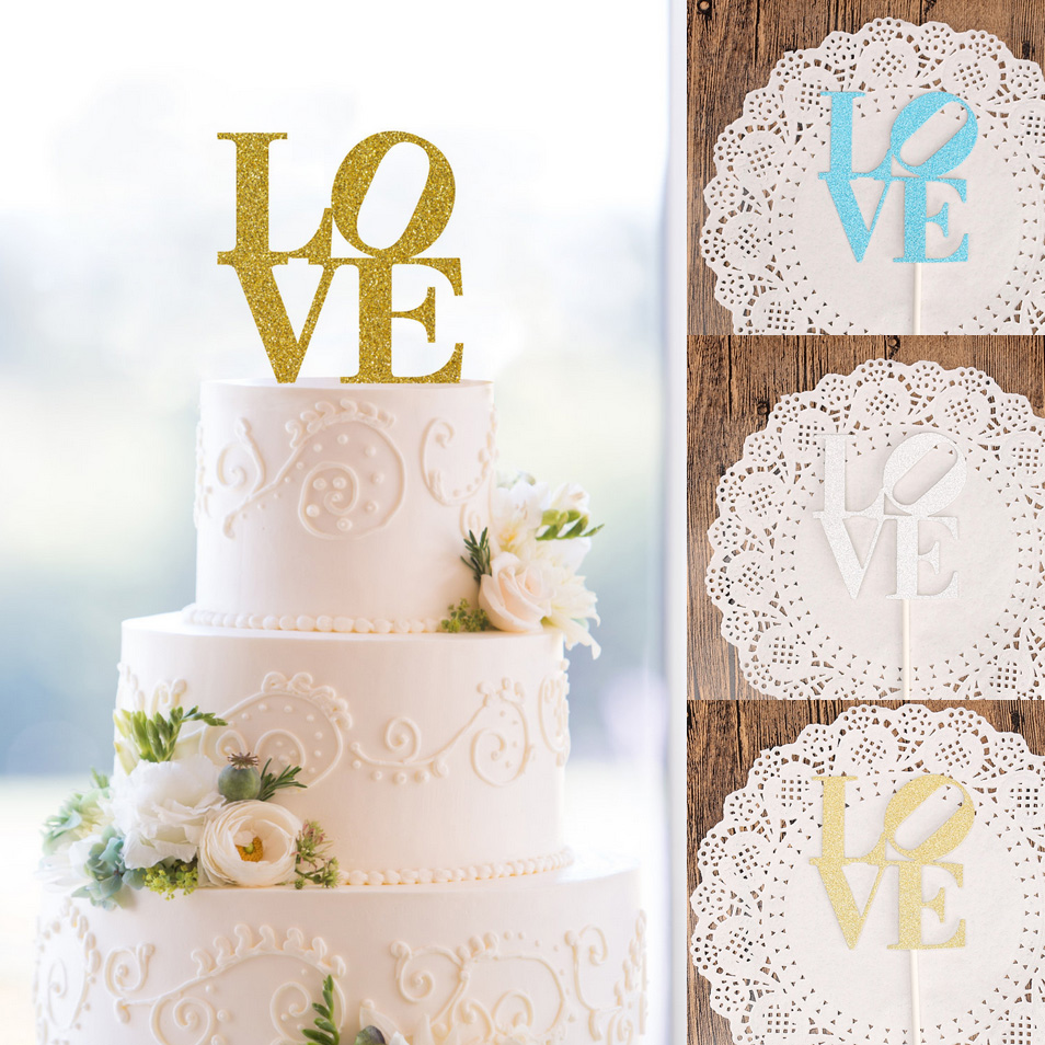 Top 10 Wedding Cake Suppliers In Melbourne 2018: 2018 New LOVE Cake Toppers Personalized Wedding Cake