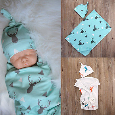 Hot Soft Toddler Kids Baby Boy Girl Deer Swaddle Blanket Coming Home White Blue Sleeping Bags Hats Bath Tower Swaddling Blankets