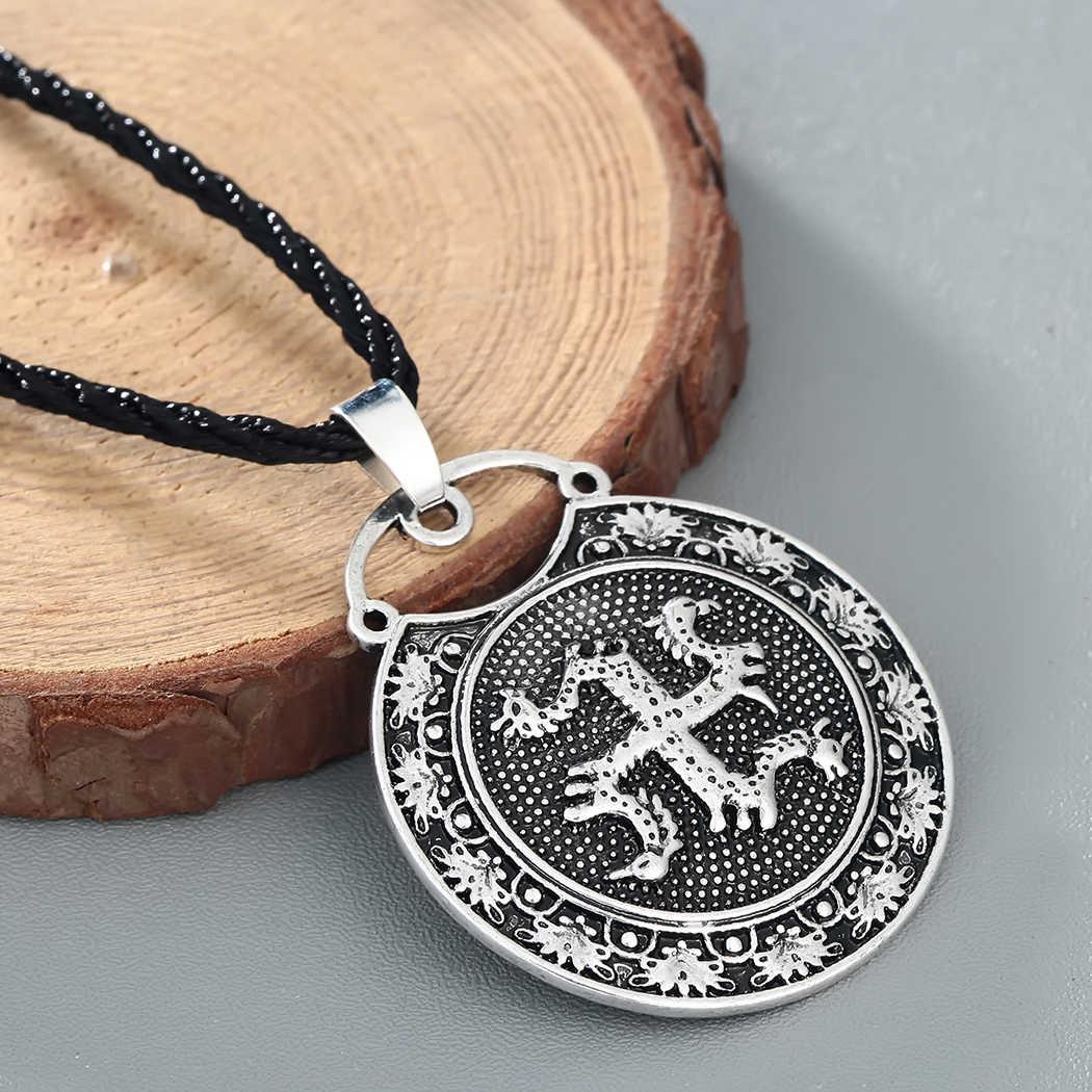 Cxwind Amulet Slavic Animal Kolovrat with Horse Bird Pendant Ancient Slavic Symbol Talisman Pendant Necklace Men Charm Jewelry