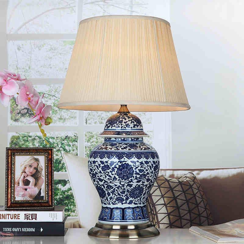 Blue White Art Chinese Porcelain Ceramic Table Lamp Bedroom Living Room Wedding Jingdezhen