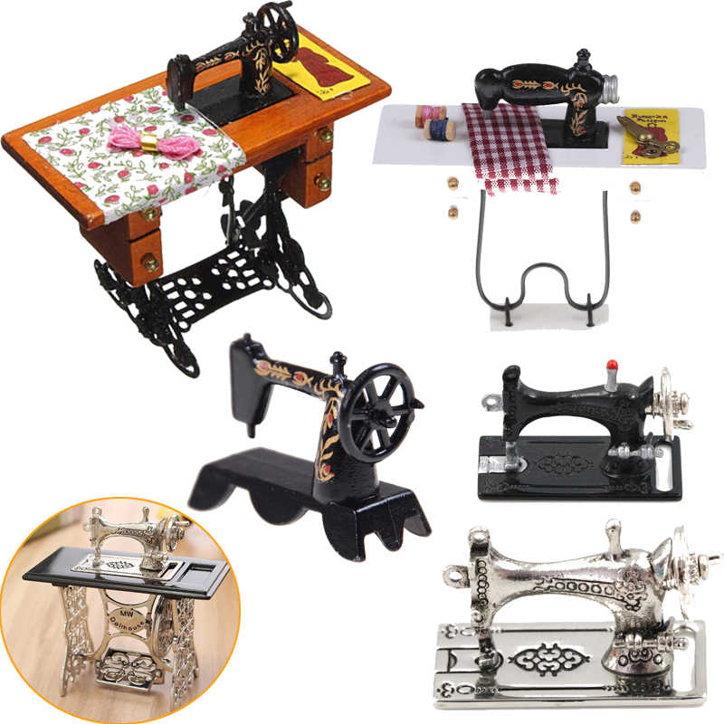 Hot 1:12 Mini Sewing Machine Simulation Home Furniture for Girl Doll House Decoration Dollhouse Miniature Accessories