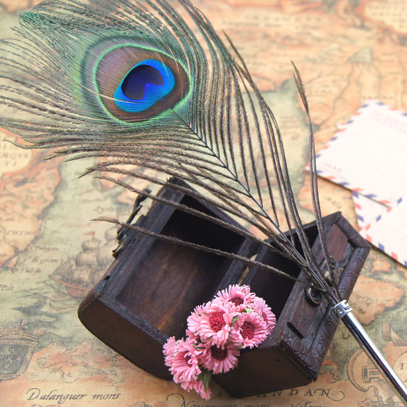 Cute Creative Peacock Feather Ballpoint Pen Wedding Home Decoration Love Gifts For Wedding Office School Supplies Wholesale