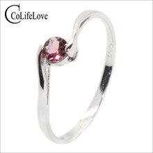 Colife 쥬얼리 925 실버 토르말린 약혼 반지 소녀 4mm 천연 전기석 반지 스털링 실버 전기석 쥬얼리