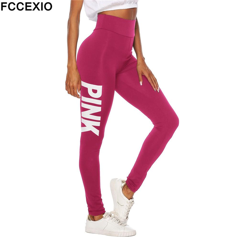 FCCEXIO New Summer Love Pink Letter Print Workout   Leggings   Women High Waist Slim PINK Slim Fitness   Legging   Sporting   Leggings