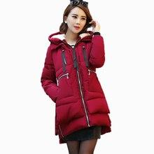 Плюс Большой Ярдов 5XL Зимняя Куртка Женщин Корейский Стиль Твердые Army Green Средней Длины Хлопка Проложенный Вниз Хлопка Теплая Подкладка Капот A0216