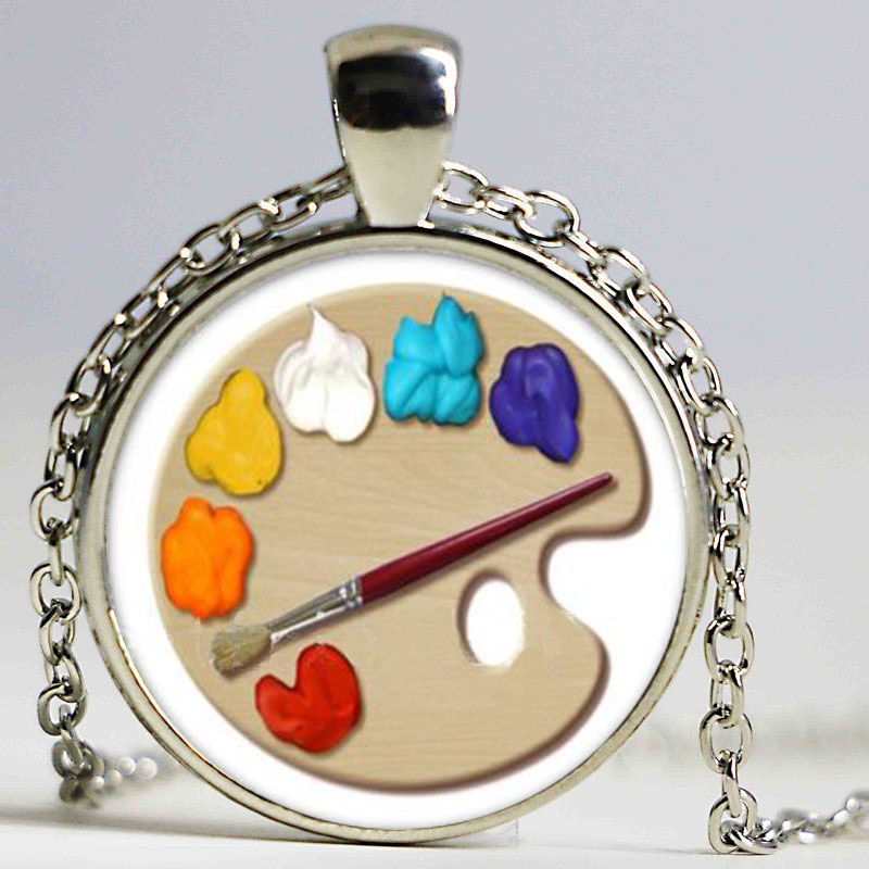 Color Palette Photo Cabochon Glass Tibet Silver Chain Pendant Necklace HZ1