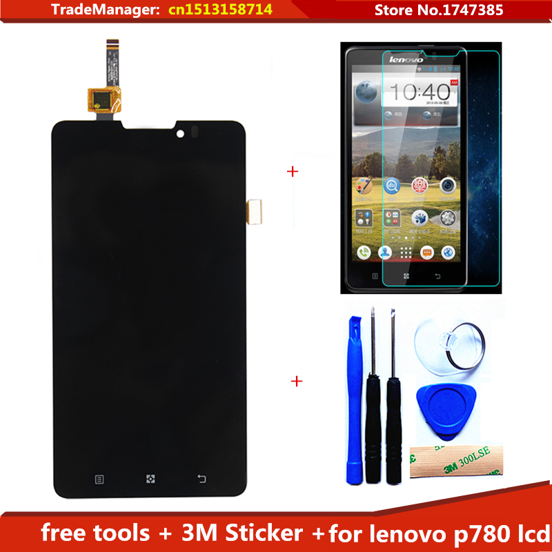 tools+3M Sticker + film + Replacement LCD Display touch screen Digitizer Assembly Complete For Lenovo P780 lcd Free Shipping high quality 5 3 for lenovo s898 s898t lcd display touch screen digitizer assembly replacement tools free shipping