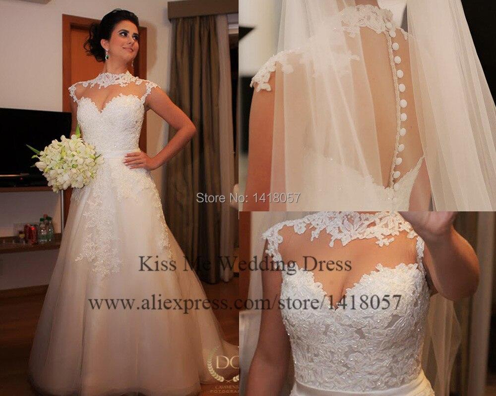 Robe De Marriage 2015 Real Love White Lace Wedding Dresses Cap ...