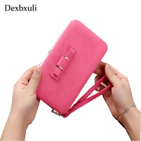 Hot Cute Lady Small Long Card Holder Women Leather CellPhone Wallet Anti Theft Mini Candy Color