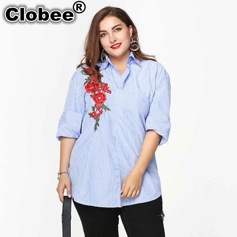 Blouses & Shirts Self-Conscious Ethnic 2019 Social Large Size Womens Embroidered Shirts Flowers Plus Big Size Female Ladies Striped Long Sleeve Shirts Blue Easy To Use