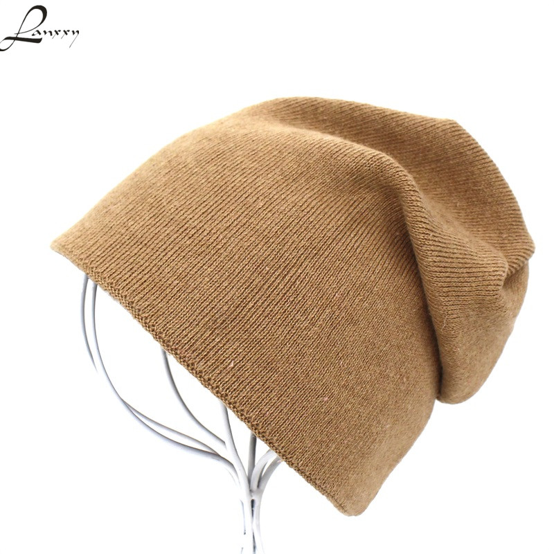 Lanxxy Double Layer Knitted Winter Hats for Women Beanies Gorro Cap Solid Casual Hat men women winter hat sos 5 seconds of sunmmer knitted double eaves cap sos knitting hat gorro masculino hats for wom