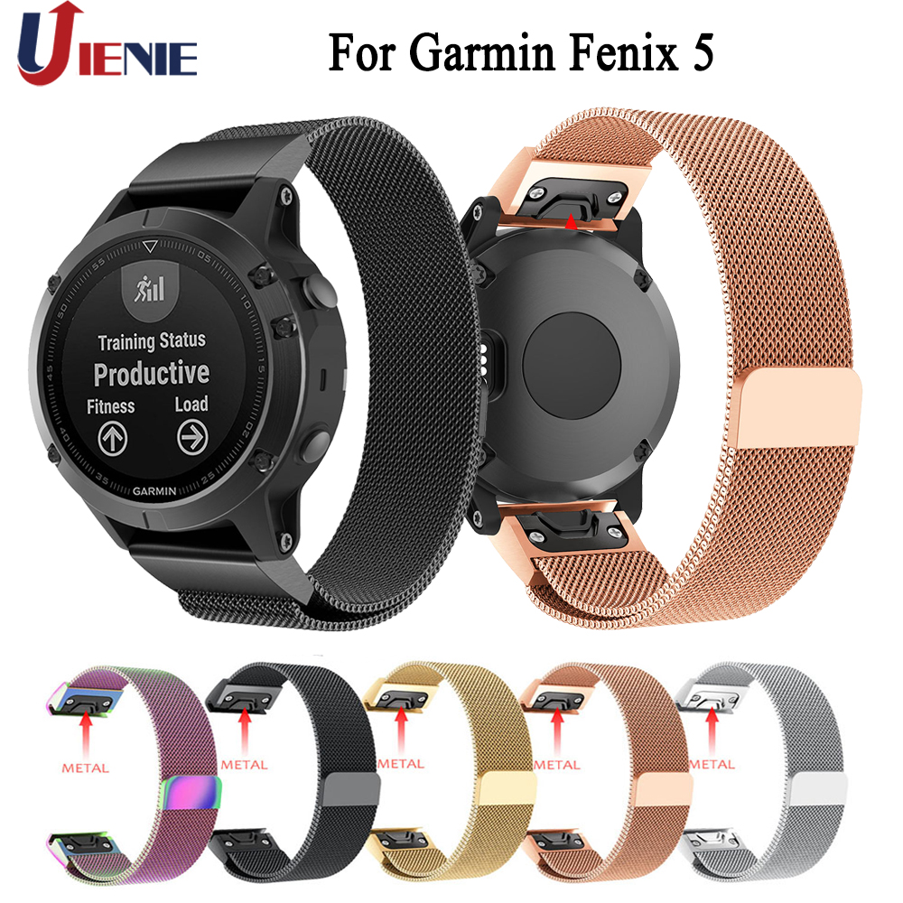 Watchband Straps for Garmin Fenix 5 Quick Fit Band 22mm Replace Metal Wrist Strap Stainless Steel Bracelet for Forerunner 935
