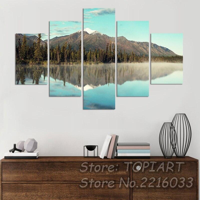 5 Panel Beautiful Serene Nature Landscape Art Canvas Prints Alaska Lake Reflection Wall PAINTINGS DECOR Spray
