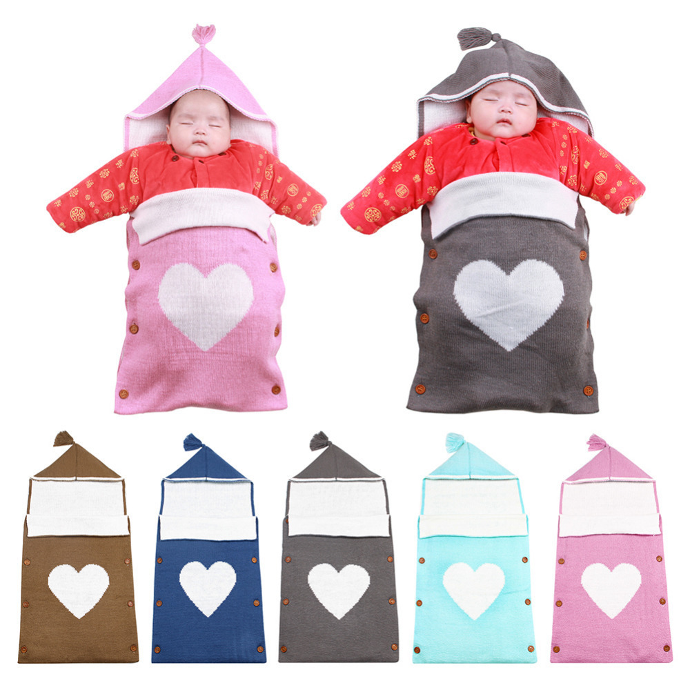 Heart-shaped Newborn Baby Cotton Knit <font><b>Sleeping</b></font> Bag Toddler Colorful Wrap Blanket With Hat For 0-12 Months Infant Girls And Boys