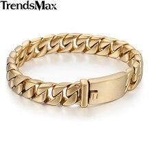 Trendsmax золото-цвет 316L Нержавеющая сталь Гладкий Снаряженная Обувь для мальчиков мужские Байкер браслет оптовая продажа ювелирных изделий 11 мм широкий HB139