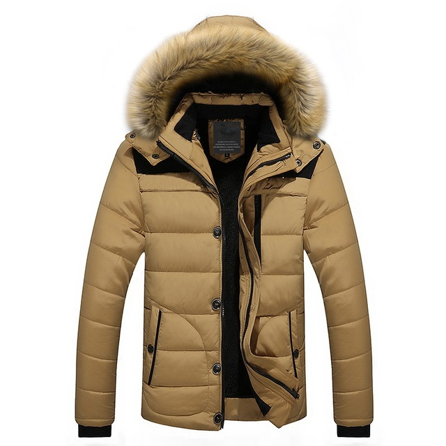Высокое качество Для мужчин Подпушка куртка брендовая одежда Повседневное теплый с капюшоном меховой воротник Пальто для будущих мам зимние Куртки парки