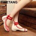 Bambu Velho Beijing Bordados Mulheres Sapatos Mary Jane Calcanhar Plana Denim Estilo Chinês Pano Plus Size Sapatos Casuais Mulher