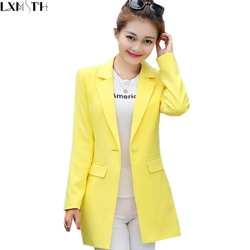 wholesale sales unique design latest fashion blazer femme long jaune