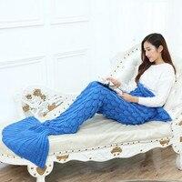 Iplik Örme Denizkızı Kuyruğu Için Battaniye Ev Tekstili Kapak Battaniye Sevimli Taşınabilir Mermaid Battaniye Bahar Sonbahar XF1