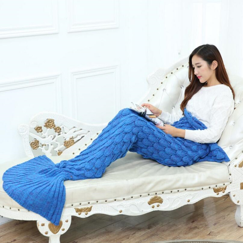 Yarn Knitted Mermaid Tail Blanket Home Textile Cover Blankets Cute Portable Blanket For Spring Autumn XF1