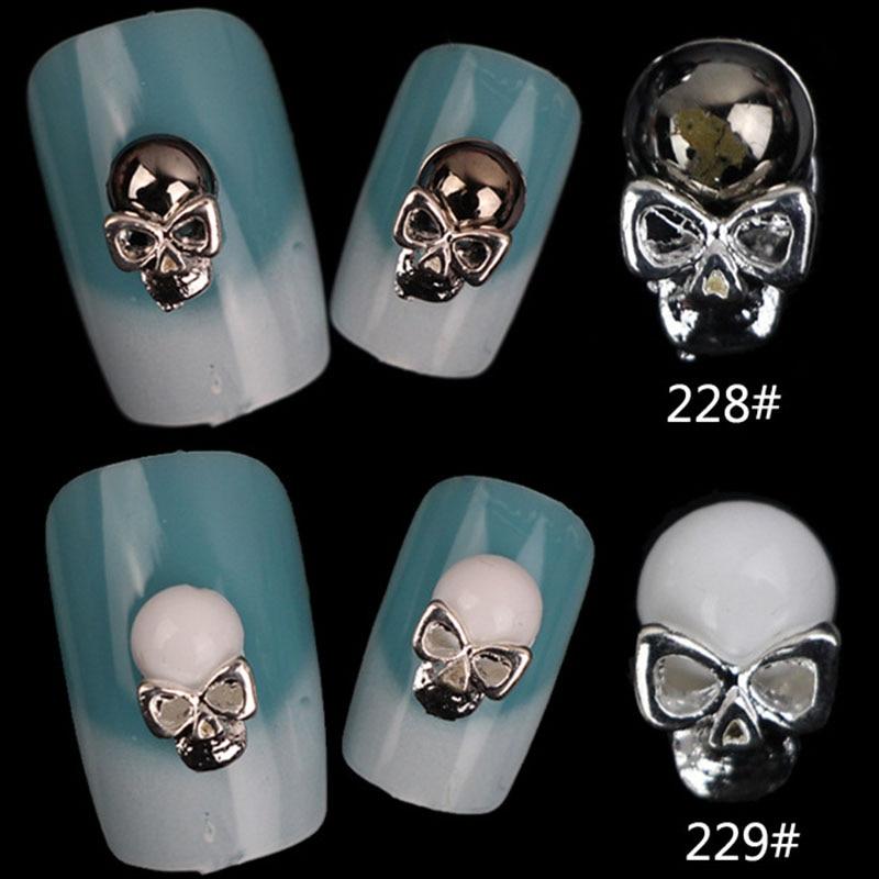 Metal Skull Black Rhinestones Punk Gothic Nail Art Alloy ...