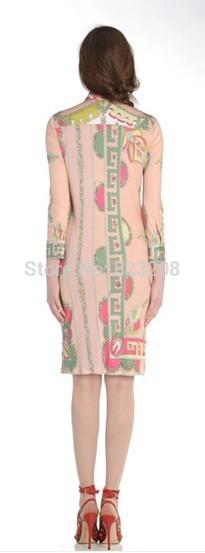 유럽 럭셔리 디자이너 드레스 여성 3/4 슬리브 핑크 기하학 인쇄 스트레치 플러스 크기 xxl 저지 실크 드레스-에서드레스부터 여성 의류 의  그룹 2