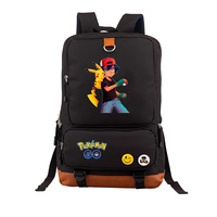 2019 High Quality Pokemon Pocket Monster Backpack Gengar Charmander Squirtle Pikachu Emoji Printing canvas Backpack School Bags