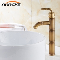 Antique Brass Faucet Bamboo Faucets crane Bathroom Sink Basin Mixer Tap XT938