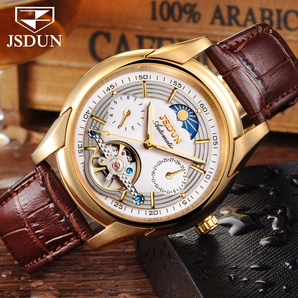 Automatic Mechanical watch men leather JSDUN Moon phase Mens Watches Top Brand Luxury Classic Business Gold Male Wrist Watch NEW стоимость