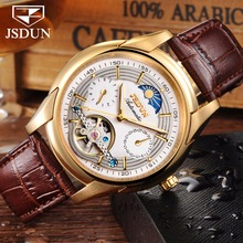 цены Automatic Mechanical watch men leather JSDUN Moon phase Mens Watches Top Brand Luxury Classic Business Gold Male Wrist Watch NEW