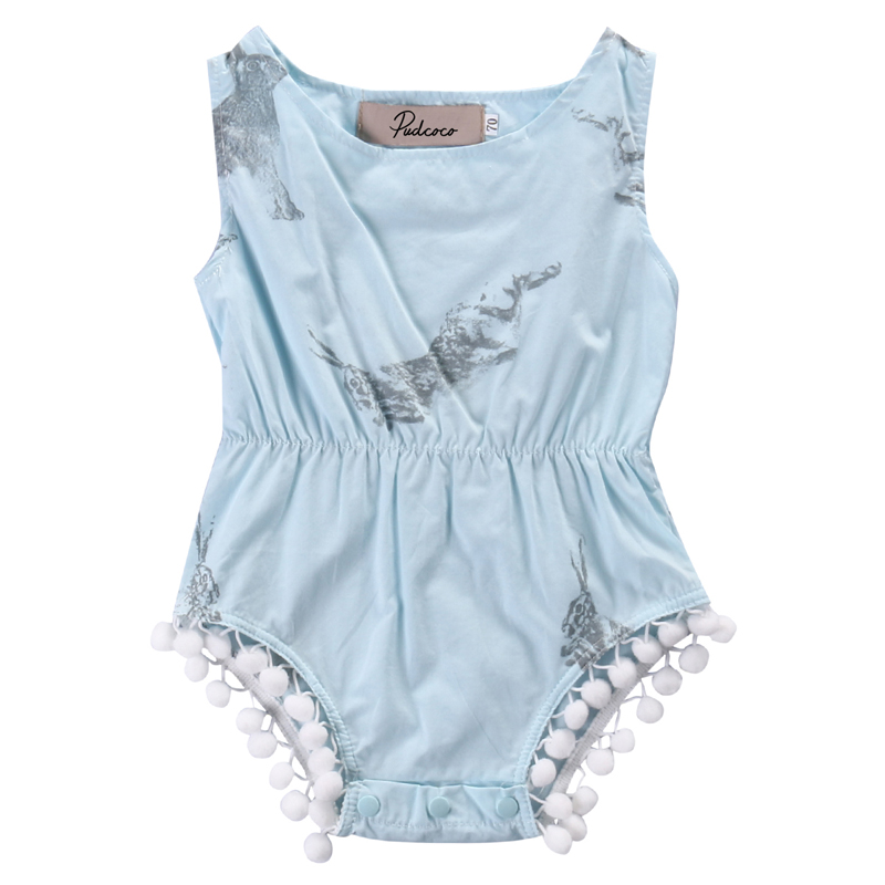 New Fashion Lovely Kids Infant Baby Girls Clothes Sleeveless Rabbit Bunny Romper Jumpsuit Outfits Sunsuit US Stock