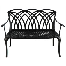 Литая алюминиевая садовая скамейка черного цвета