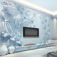 Beibehang Klienta Photo Tapety 3D Naklejki Ścienne Fresco Czyste Estetyczne Niebieski 3d Przejrzysty Kwiat Motyl TV Tle Ściany