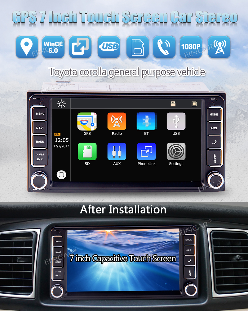 7 pouces écran tactile voiture stéréo pour Toyota Corolla dans le tableau de bord Double 2 Din Auto Radio récepteur vidéo Audio MP5 lecteur pièces de véhicule