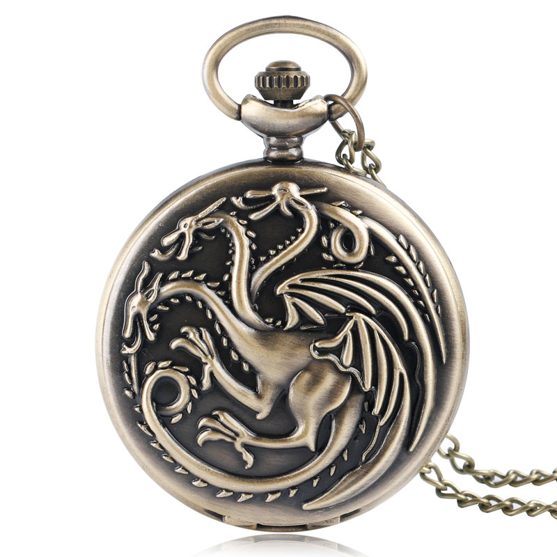 Antique Style Game Of Thrones  House Targaryen Three Head Dragon Quartz Pocket Watch  Women Men Necklace Clock Pendant Gifts