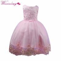 Princess Sequins Wedding Dress Costume For Girl Tutu Bebes Infant 1-2 Year Birthday Sleeveless Formal Dress