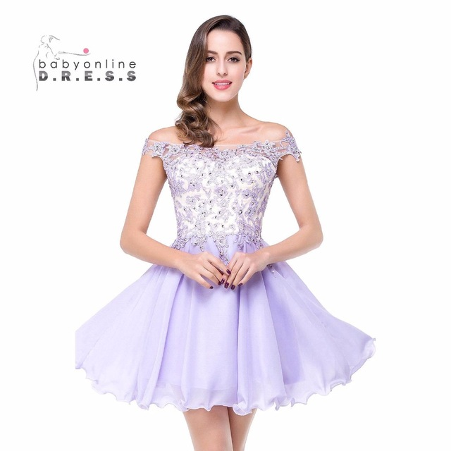 ca3f0430beb Real Photos Off Shoulder Lavender Short Prom Dresses 2017 Lace Appliques  Short Homecoming Dresses Party Dress Robe De Soiree