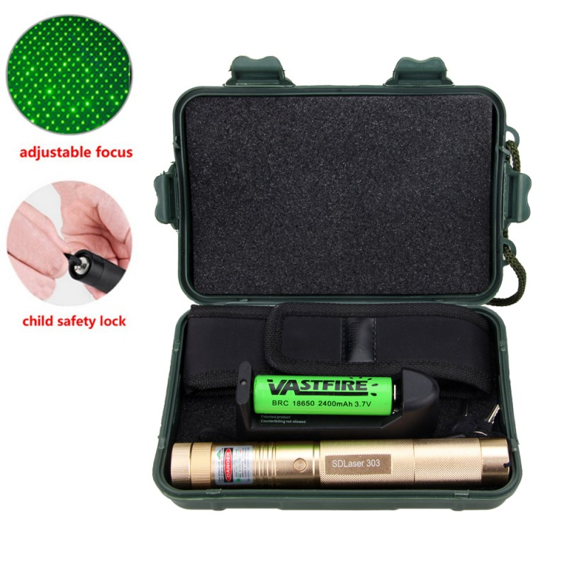 Green Laser Pointer Pen Light Visible Powerful device 1mw 532nm Adjustable Focus Leisu 10 miles Military+18650 battery+charger