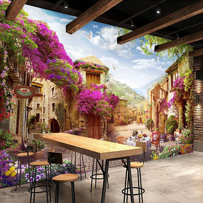 Custom 3d Mural Wallpaper European Town Pastoral City