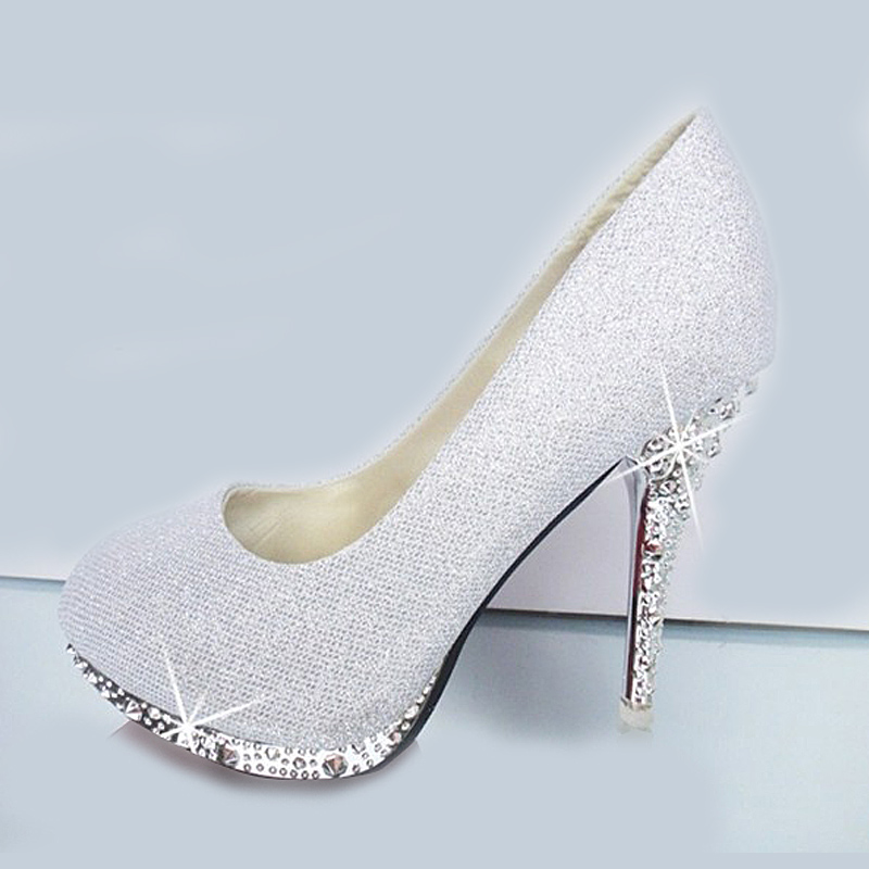 Aliexpress 2017 Glitter White Wedding Shoes Evening Crystal Red Bottom High Heels Y Women S Pumps Bridal Sole From