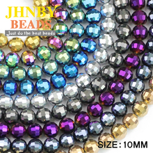 JHNBY 10mm 96 Faceted ball Austrian crystal beads 30pcs plated color Round Loose for Jewelry bracelet necklac making DIY