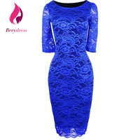 Women Elegant Pencil Dress Half Sleeves Vestidos Knee Length Royal Blue Wedding Cocktail Bodycon Retro Casual