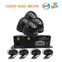 Free Shipping 4 Channel GPS WIFI 1080P AHD SD Mobile Car DVR MDVR Video Recorder Realtime View via PC Phone 4x InCar Dome Camera