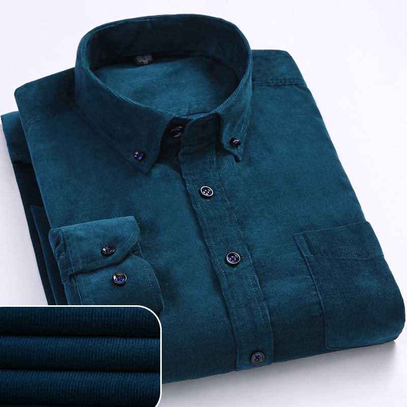 Autumn Corduroy Mens Shirts Loose Male Long Sleeve Solid Soft Shirt For Men Casual Shirt Plus Size Black Red Dad Shirt 5XL 6XLCasual Shirts   -