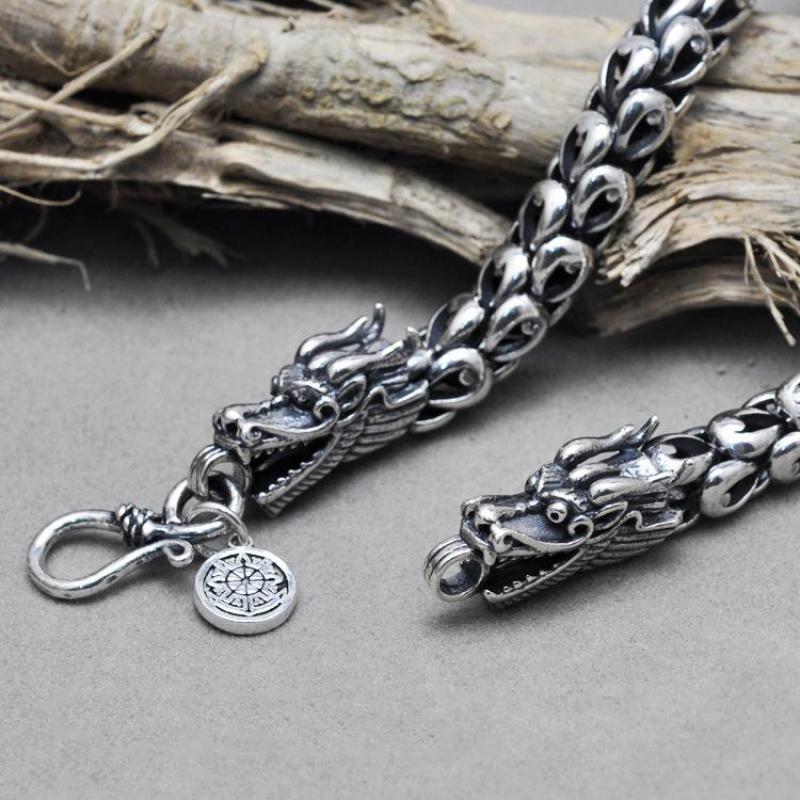 925 пробы серебро чешуя дракона колье цепь свитера для Для мужчин ручной работы Винтаж тайский серебряный Для мужчин аксессуары 2017