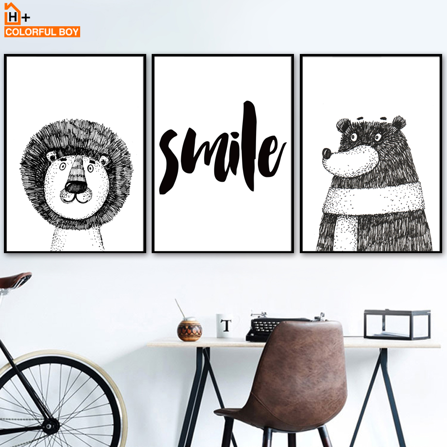 COLORFULBOY Bear Lion Bear Wall Umělecká reprodukce Black White Poster Canvas Painting Cartoon Animal Wall Picture For Living Living Decor