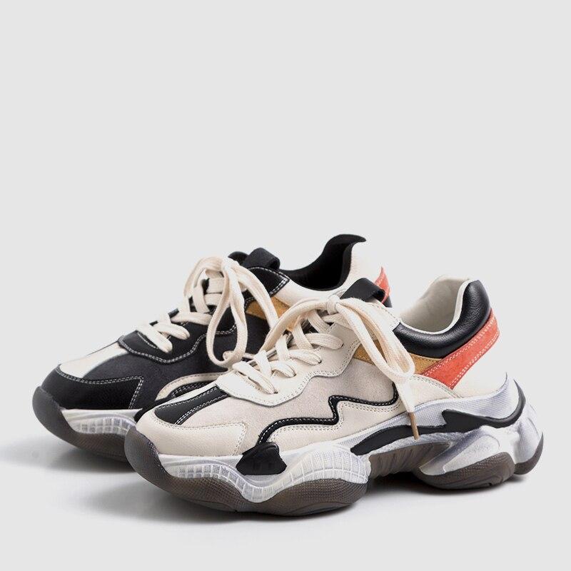 اعتصامات DoraTasia 2019 جديد حار بيع الربيع أبي أحذية امرأة 2019 حقيقية جلد البقر السيدات رياضية الدانتيل متابعة فتاة عالية أحذية امرأة-في أحذية نسائية مسطحة من أحذية على  مجموعة 3