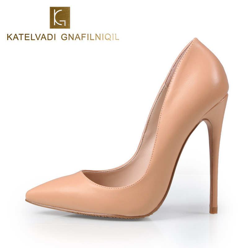 Brand Wedding Shoes Woman High Heels Stilettos Women Pumps 12CM High Heel Pointed Toe Sexy Nude Shoes For Women High Heels K-029 apoepo women high heel pointed toe slip on sexy pumps nude high heel wedding bride shoes concise style stilettos m063