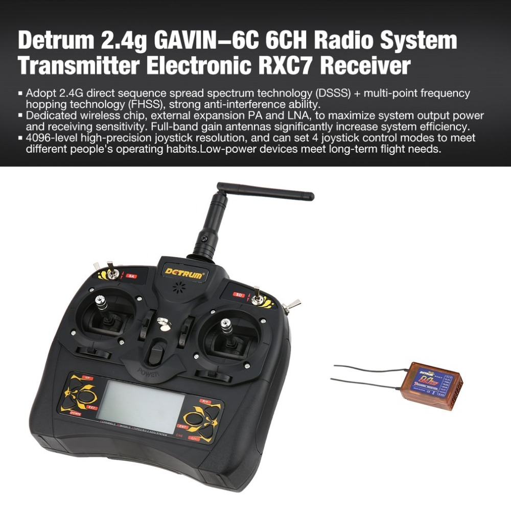 Detrum GAVIN-6C 6-Channel 2.4G Digital Remote Control + RXC7 Receiver + USB Connection Line Set for RC Plane Boat Car Model ht new replacement for sony rm aau013 av receiver remote control for ht ddw685 ht ddw790 e15 strdg500 strdh100 strdh500