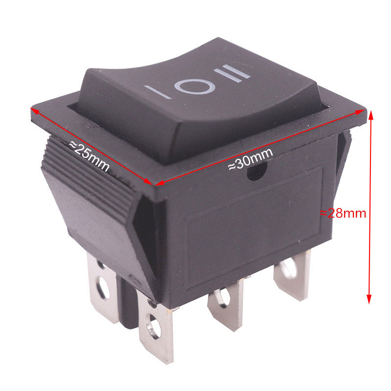 2 Pcs Black Button Rocker Switch 6 Plugs Third Gear 30 * 25 * 27mm 16A 250V/ 20A 125V AC Electrical Equipment Switches Wholesale kw11 7 1 micro switches pair ac 250v 16a